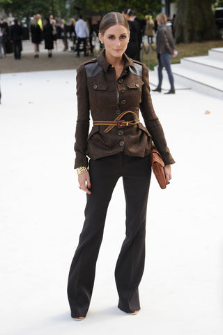Olivia Palermo in a belted military jacket