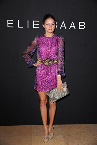 Olivia Palermo in a belted printed, violet cocktail dress