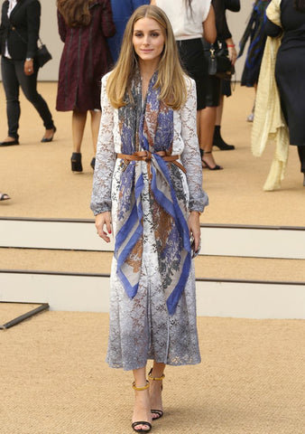Olivia Palermo using her belted printed scarf trick