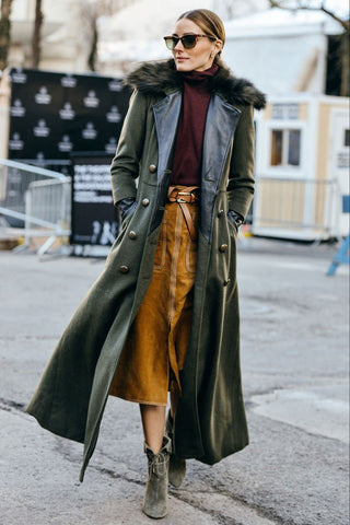 Olivia Palermo wearing a long green coat