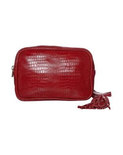 Cassandra Belt Bag - Red Small Croco
