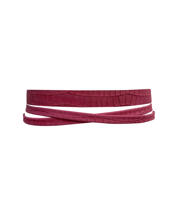 Skinny Wrap Belt - Fuchsia Croco
