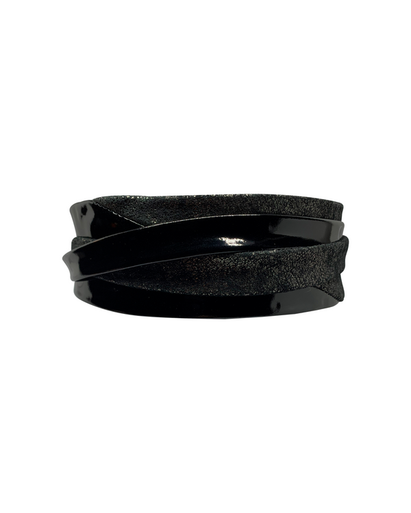 Minnie Wrap Belt - Patent Black Pewter