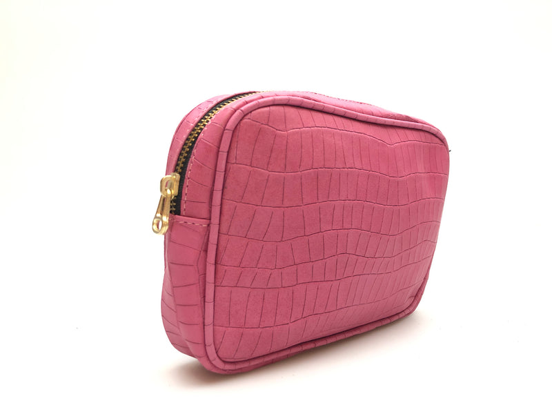 Cassandra Belt Bag - Fuchsia Croco