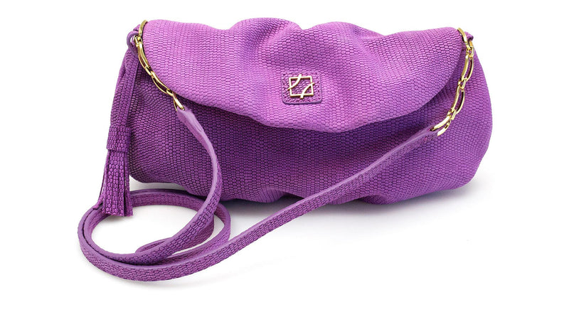 Leather Sasha Clutch - Orchid