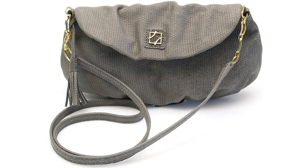 Leather Sasha Clutch - Charcoal