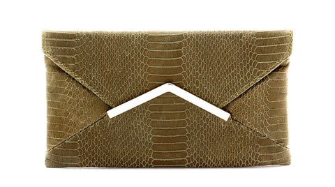 Leather Kacy Clutch - Sage Alligator | ADA Handbags | Womens Accessories