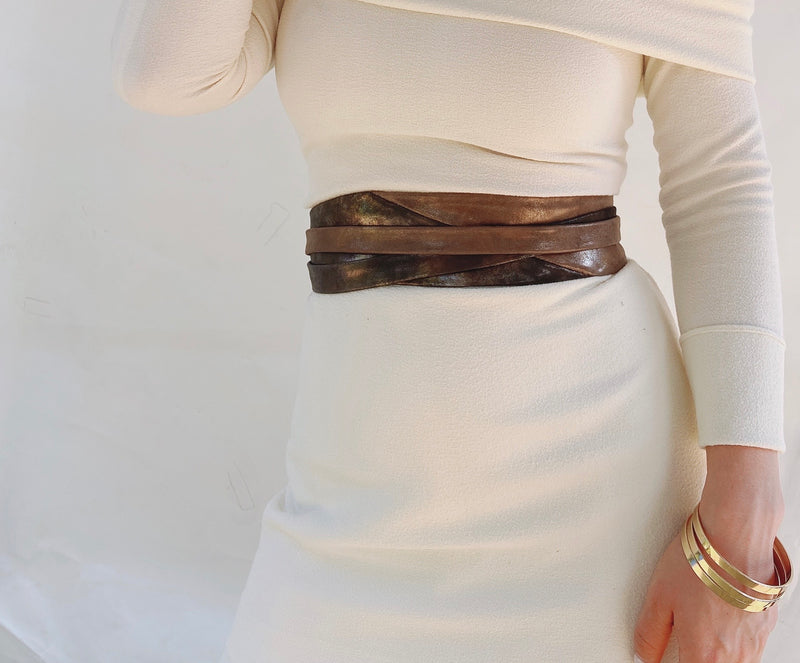 Minnie Wrap Belt - Midnight/Truffle