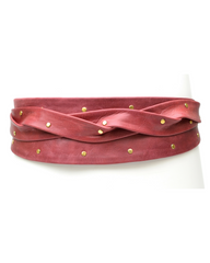 Stud Wrap Belt - Burgundy