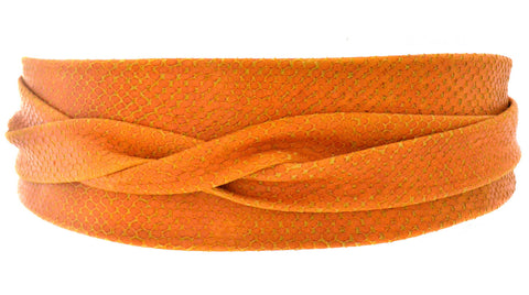 Leather Wrap Belt - Orange Python