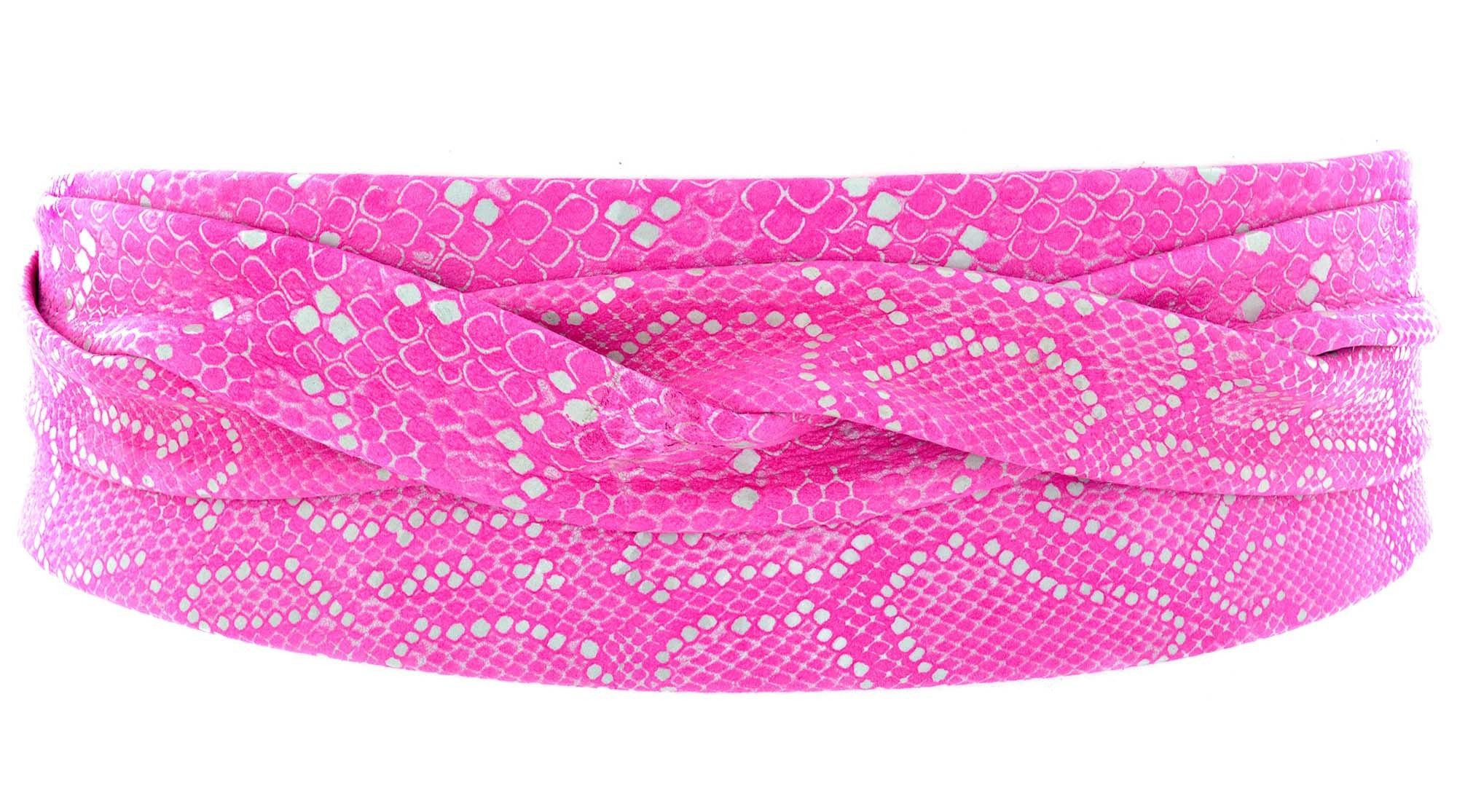 Leather Wrap Belt - Spotted Pink