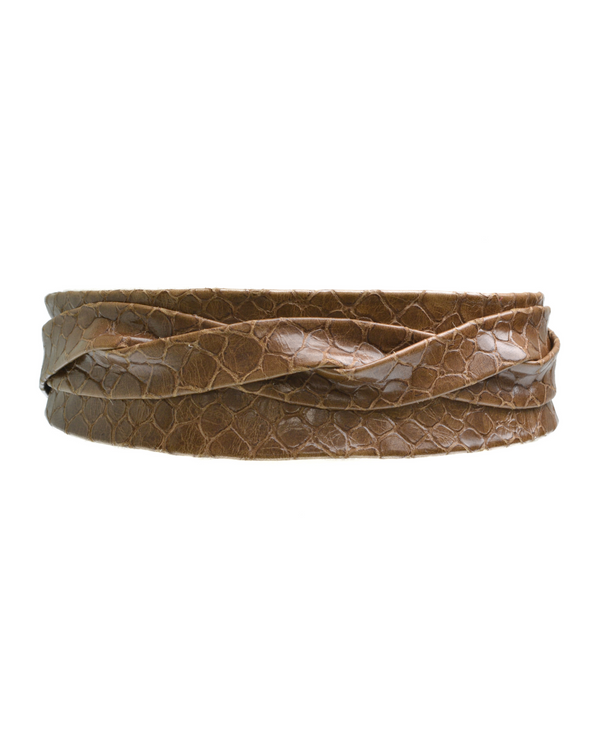 Wrap Belt - Patent Tan tortoise