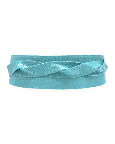 Wrap Belt - Blue Metallic Grid