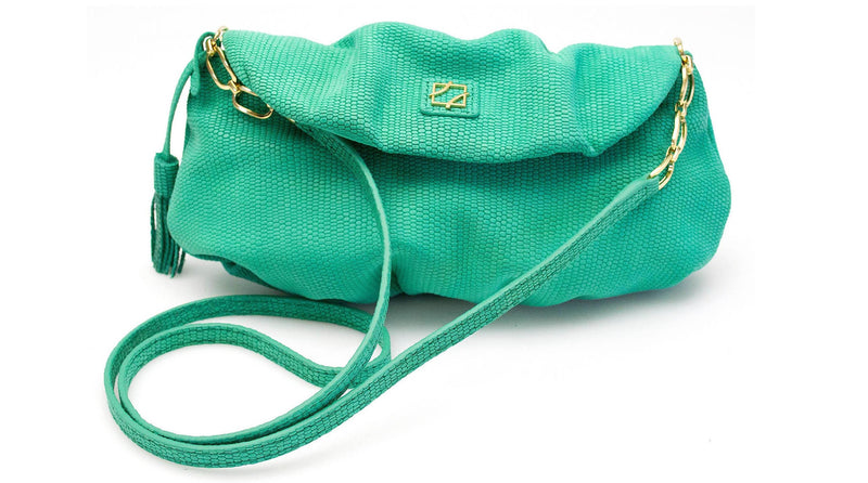 Leather Sasha Clutch - Emerald