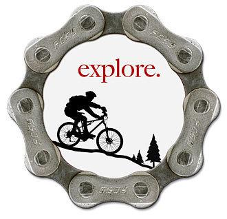 Handmade, recycled bike chain magnet - explore