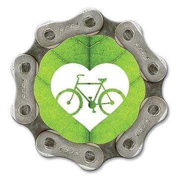 Eco friendly recycled bike chain fridge magnet - green heart