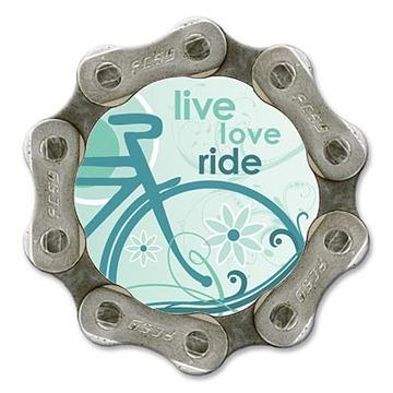 Handmade, upcycled bike chain magnet - Live, Love, Ride