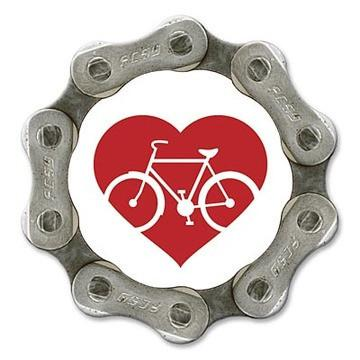 Handmade in USA bike chain magnet - Red heart