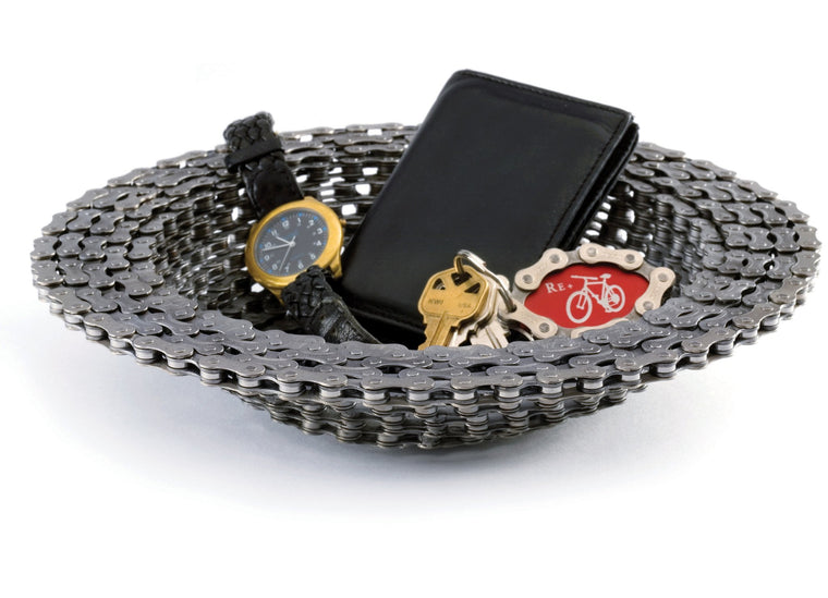 Resource Revival Recycled Bike Chain Bowl with stuff - a great, unique gift