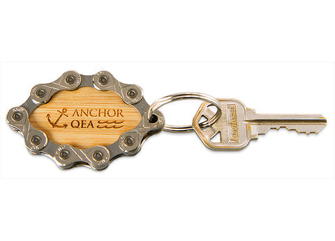 Oval Bamboo Keychain