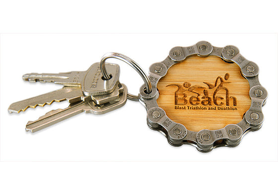 Round Bamboo Keychain - a unique green promotional product