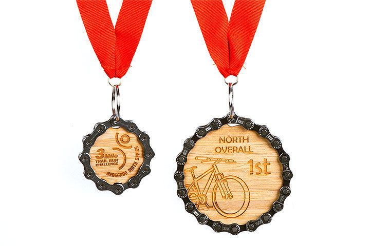 Comparison of Large and Regular Bamboo Medals - both are handmade and recycled