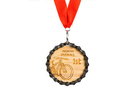 Large Engraved Bamboo Medals - we laser engrave your logo on sustainable bamboo