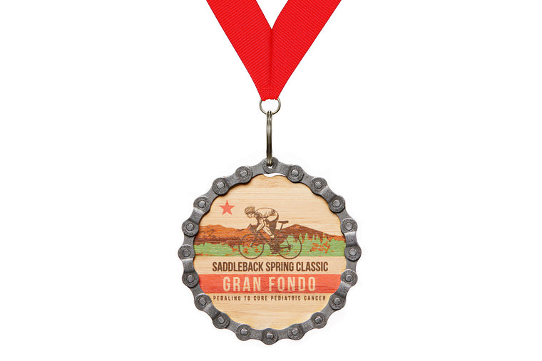 Full color printed bamboo medal with wood grain showing