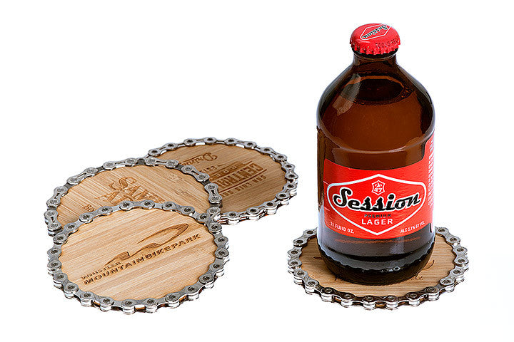 Bike chain and bamboo coasters - eco-friendly, sustainable, and handmade