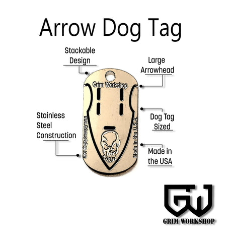 Image of Arrowhead Dog Tag Survival Necklace-Grimworkshop-bugoutbag-bushcraft-edc-gear-edctool-everydaycarry-survivalcard-survivalkit-wilderness-prepping-toolkit