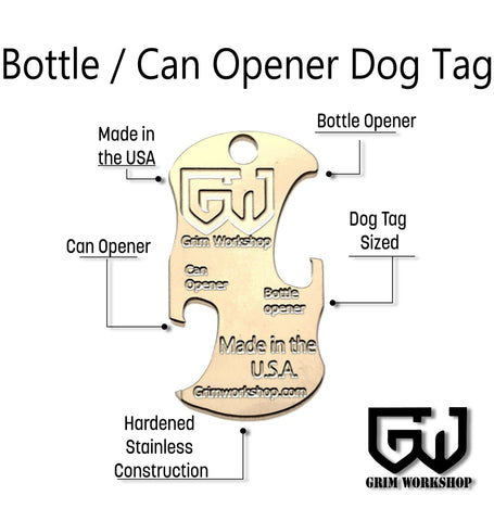 Image of Bottle & Can Opener Dog Tag Necklace Tool-Grimworkshop-bugoutbag-bushcraft-edc-gear-edctool-everydaycarry-survivalcard-survivalkit-wilderness-prepping-toolkit