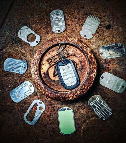 Image of Dog Tag Tool and Survival necklace Kit-Grimworkshop-bugoutbag-bushcraft-edc-gear-edctool-everydaycarry-survivalcard-survivalkit-wilderness-prepping-toolkit