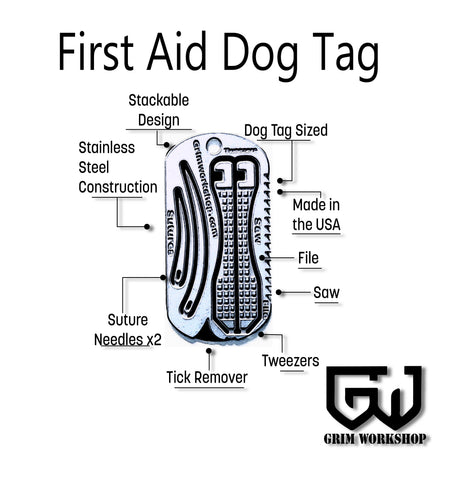 Image of First Aid Dog Tag Survival Necklace-Grimworkshop-bugoutbag-bushcraft-edc-gear-edctool-everydaycarry-survivalcard-survivalkit-wilderness-prepping-toolkit