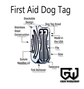 First Aid Dog Tag Survival Necklace-Grimworkshop-bugoutbag-bushcraft-edc-gear-edctool-everydaycarry-survivalcard-survivalkit-wilderness-prepping-toolkit