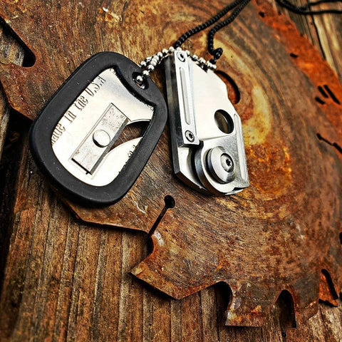 Folding Knife Dog Tag Survival Necklace-Grimworkshop-bugoutbag-bushcraft-edc-gear-edctool-everydaycarry-survivalcard-survivalkit-wilderness-prepping-toolkit