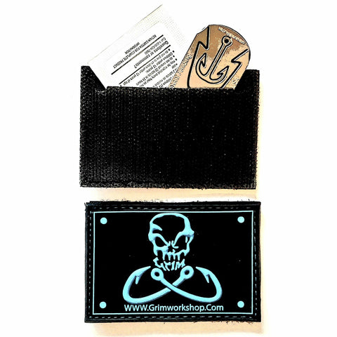 Image of Grim Fishing Morale Patch with Hidden Pocket-Grimworkshop-bugoutbag-bushcraft-edc-gear-edctool-everydaycarry-survivalcard-survivalkit-wilderness-prepping-toolkit