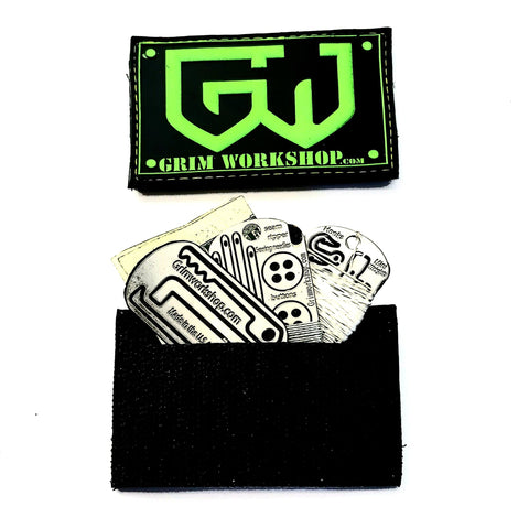 Image of Grim Green Morale Patch with Hidden Pocket-edc-wilderness-urban-bugoutbag-survivalcard-kit-creditcardtool-Grimworkshop