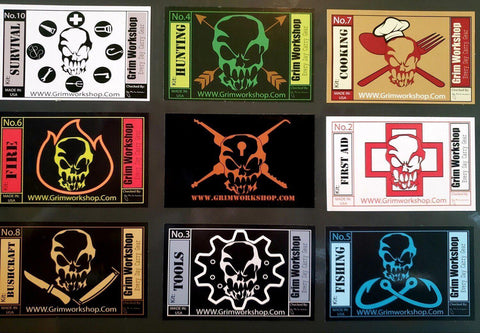 Grim Kit 9 Sticker Set-edc-wilderness-urban-bugoutbag-survivalcard-kit-creditcardtool-Grimworkshop