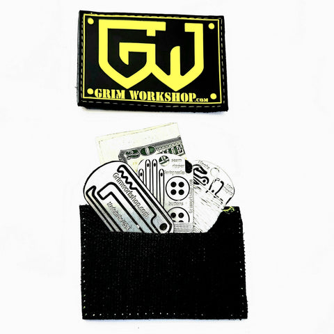 Image of Grim yellow Morale Patch with Hidden Pocket-edc-wilderness-urban-bugoutbag-survivalcard-kit-creditcardtool-Grimworkshop