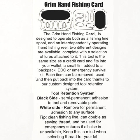 Hand Caster Survival Fishing Card 4 finger grip-Grimworkshop-bugoutbag-bushcraft-edc-gear-edctool-everydaycarry-survivalcard-survivalkit-wilderness-prepping-toolkit