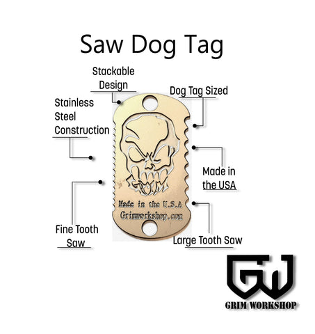 Image of Saw Dog Tag Survival Necklace-Grimworkshop-bugoutbag-bushcraft-edc-gear-edctool-everydaycarry-survivalcard-survivalkit-wilderness-prepping-toolkit