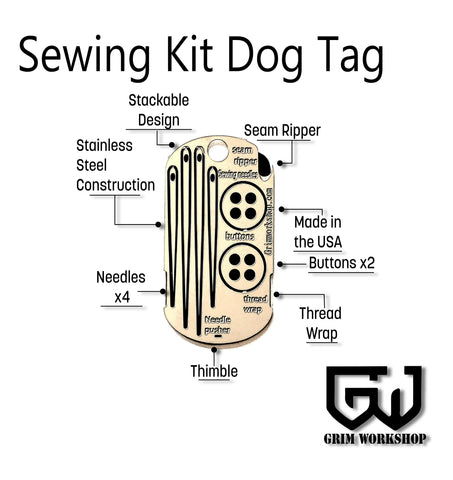 Sewing Kit Dog Tag Survival Necklace-Grimworkshop-bugoutbag-bushcraft-edc-gear-edctool-everydaycarry-survivalcard-survivalkit-wilderness-prepping-toolkit