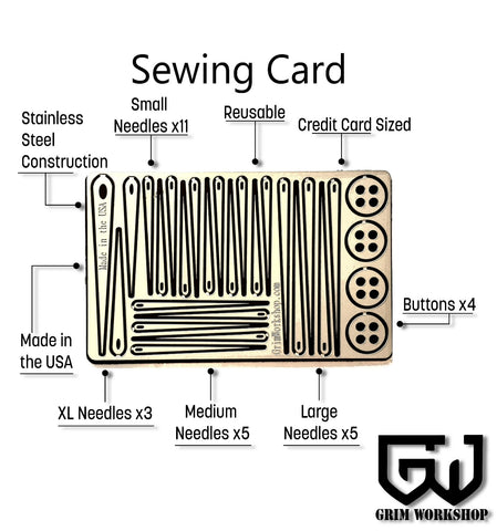 Sewing Kit Repair Card-Grimworkshop-bugoutbag-bushcraft-edc-gear-edctool-everydaycarry-survivalcard-survivalkit-wilderness-prepping-toolkit