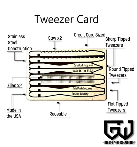 Tweezer Multi Tool First Aid Card-Grimworkshop-bugoutbag-bushcraft-edc-gear-edctool-everydaycarry-survivalcard-survivalkit-wilderness-prepping-toolkit