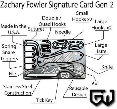 Image of Zachary Fowler Signature Survival Card Generation 2-Grimworkshop-bugoutbag-bushcraft-edc-gear-edctool-everydaycarry-survivalcard-survivalkit-wilderness-prepping-toolkit