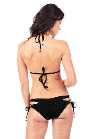 Cutout String Bottom in Black - Back | Voda | Kallone Intimi