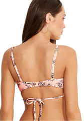 Love Bird Wrap Front Booster Top in Peach - Back| Seafolly Australia | Kallone Intimi