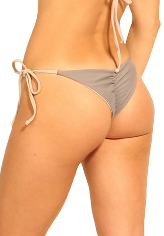 Paradiso Bottom in Graphite and Nude - Back | Cheeks Swimwear | Kallone Intimi