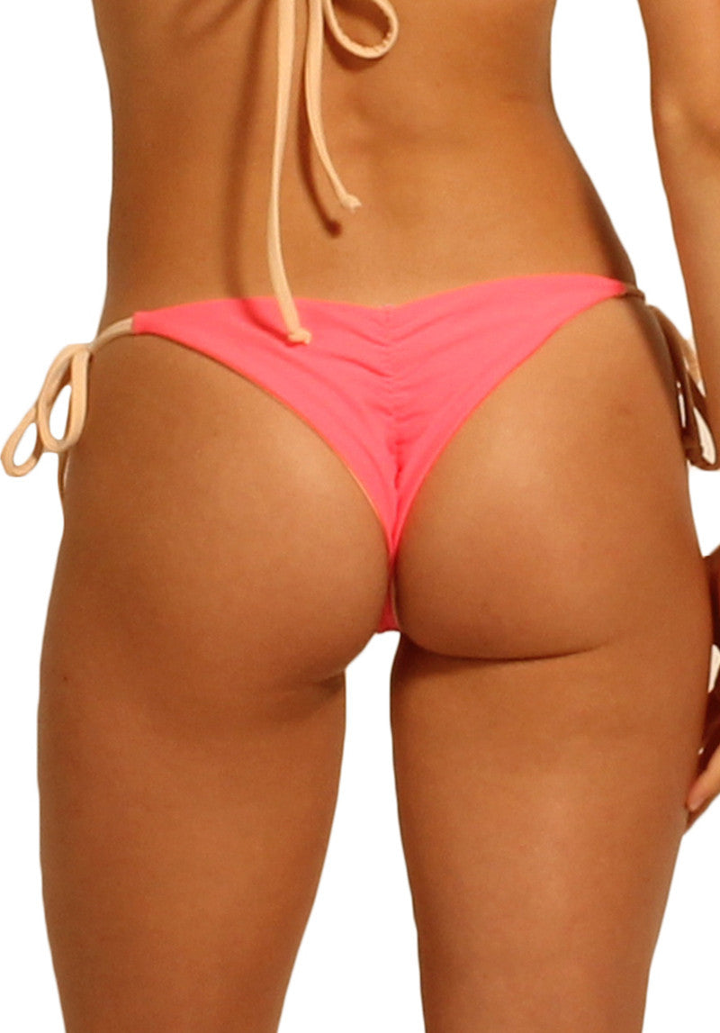 Paradiso Bottom in Neon Pink and Peach - Back | Cheeks Swimwear | Kallone Intimi