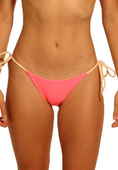 Paradiso Bottom in Neon Pink and Peach - Front | Cheeks Swimwear | Kallone Intimi